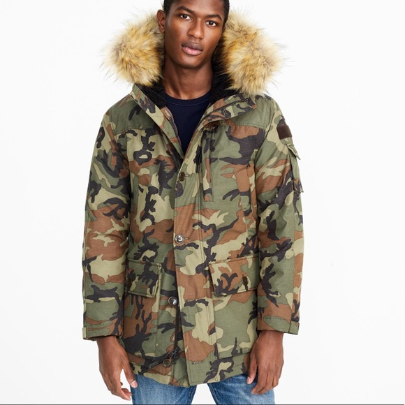 e7f5e765f J crew Nordic Down Parka in Woodland Camo NEW